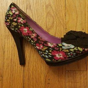Madden Girl Black Floral Heels